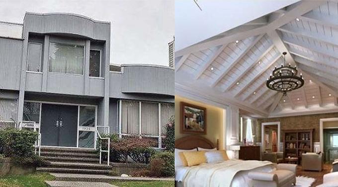 Biệt thự có thế lựng tựa sơn mặt hướng thủy (ảnh bên phải) và nội thất bên trong căn nhà hướng ra biển của Bá Chi (ảnh bên trái).