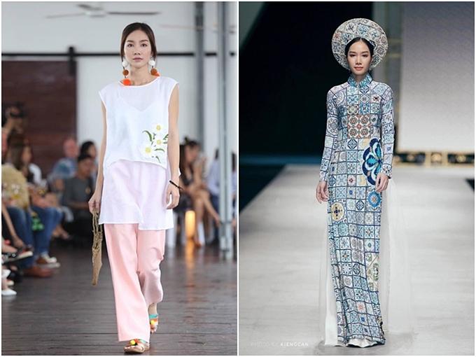 Người đẹp trình diễn trong nhiều show diễn, trong đó có tuần lễ thời trang quốc tế Việt Nam 2018 (phải).