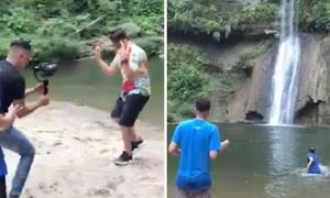 Vô tình ghi cảnh du khách rơi từ thác xuống khi quay MV ca nhạc