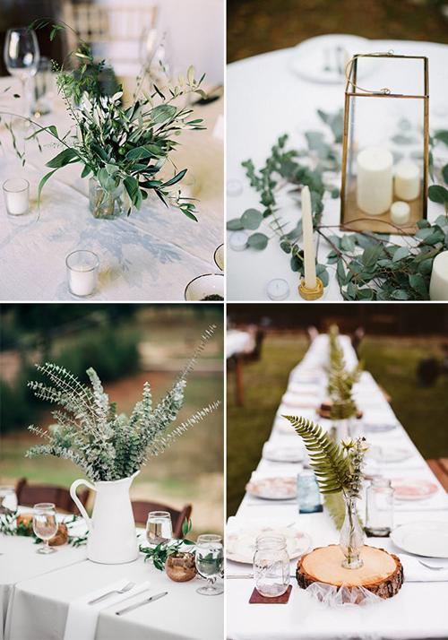 Hai yếu tố sẽ giúp bạn trang trí bàn tiệc đẹp là: nến và một thứ gì đó mộc mạc (bình hoa/khoanh gỗ/nhành cây). Cặp vợ chồng chọn phong cách tiệc cưới tối giản là người không thích sự diêm dúa hoặc làm quá của đám cưới truyền thống.