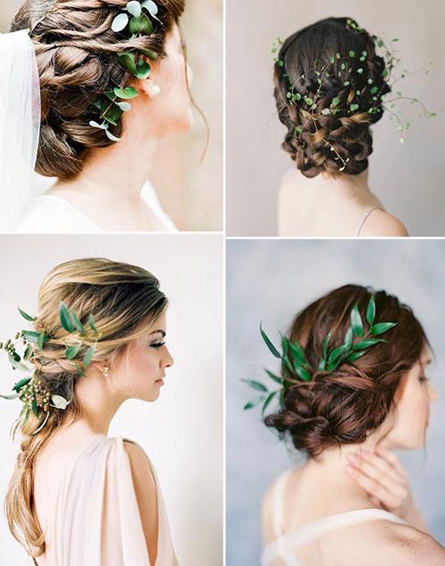 So với hoa, lá câythường tươi lâu hơn và là phụ kiện lý tưởng cho cô dâu theo đuổi concept minimalist. Để kết hợp với dây leo, cô dâu có thể chọn tóc búi hoặc tóc tết thấp.
