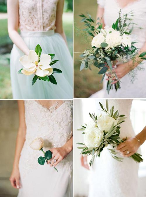 Hoa cầm tay cô dâu có khi chỉ là một bônghoặc vài bông hoa trắng, là điểm nhấn khác biệt của đám cướitheo phong cách minimalist.