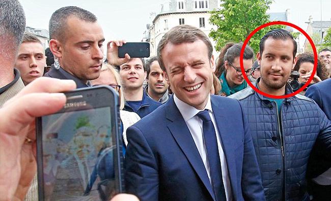 Alexandre là vệ sĩ được ông Macron tuyển từ hồi chiến dịch tranh cử. Ảnh: EPA.