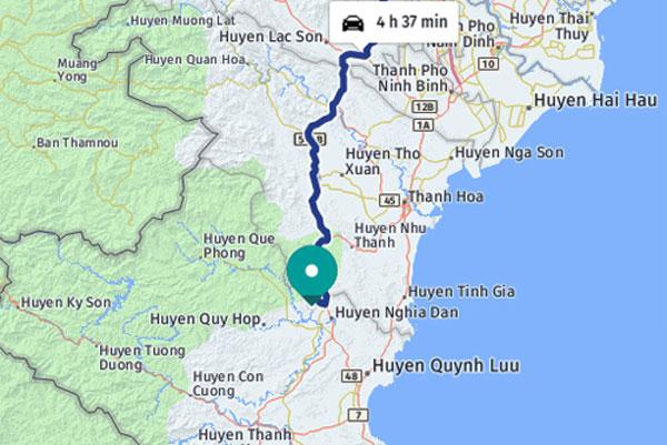 Xã Nghĩa Yên huyện Nghĩa Đàn (chấm xanh), cách trung tâm Hà Nội 4h37 phút nếu đi ôtô.