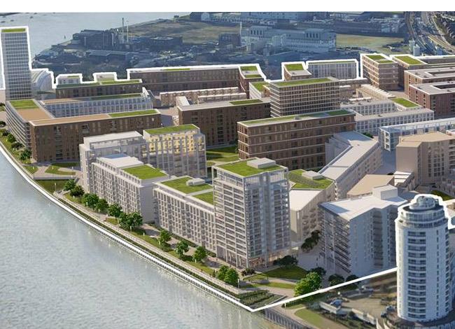 Dự ánRoyal Wharf ở ngoại ô London với 3,385 căn hộ giá rẻ doOxley xây dựng. Ảnh:Royal Wharf