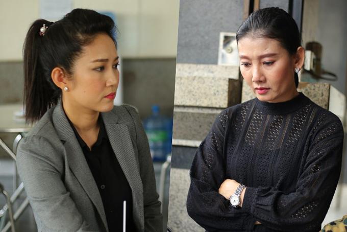 Ca sĩ Thanh Thuý (trái) và diễn viên Mỹ Uyên.