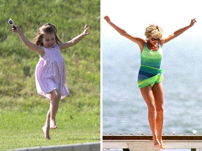 Công chúa Charlotte có điệu nhảy tung người vui vẻ trong khi đi xem trận đấu polo có Hoàng tử William thi đấu tháng trước giống bà nội của mình, Diana, tại St Tropez vào mùa hè năm 1997.