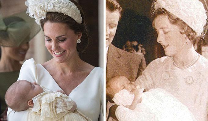 Hoàng tử Louis ngủ ngon lành trong vòng tay Kate ở lễ rửa tội hôm 9/7, giống như Diana cũng từng nằm bình yên trên tay mẹ tại buổi lễ rửa tội của mình năm 1961.