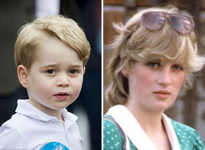 Hoàng tử George tại triển lãm hàng không Fairford 2016 và Diana tại một trận polo năm 1982.