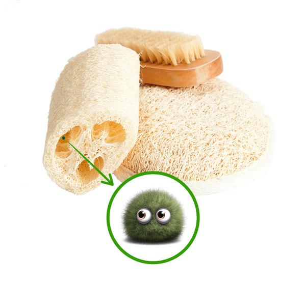 Không thay bông/bọt biển tắm thường xuyên Bông tắm hay bọt biển tắm là những đồ vật dễ tích tụ vi khuẩn nhất nếu không được vệ sinh và phơi khô đúng cách sau khi sử dụng. Để bảo vệ sức khỏe, bạn nên thay bông/bọt biển tắm sau một tháng.