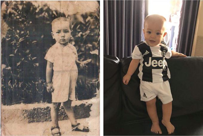 Ca nương Kiều Anh khoe ảnh quý tử cùng dòng chú thích: Hai bức ảnh cách nhau 79 năm.Cụ và cháu.Mọi người có thấy giống nhau không ạ?