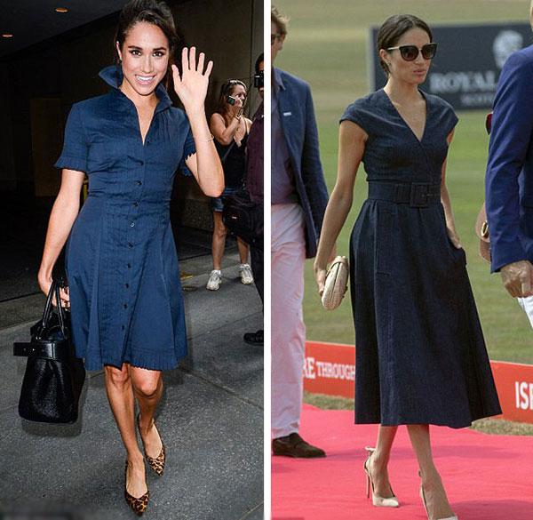 Meghan diện chiếc váy của Yigal Azrouel ở thành phố New York, Mỹ vào năm 2016 (trái) và một chiếc tương tự nhưng sang trọng hơn của Carolina Herrera hôm 26/7 khi đi xem Harry chơi tại Sentelbale Polo Cup, Berkshire, Anh (phải).