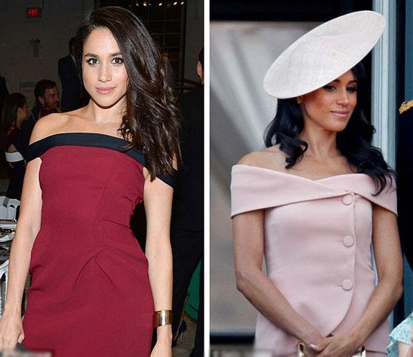 Vài tuần trước khi quen Harry, Meghan được trông thấy diện một bộ váy hở vai (trái). Sau đám cưới hoàng gia gần một tháng, cô diện lại kiểu trang phục này ở Lễ diễu binh mừng sinh nhật Nữ hoàng 92 tuổi.