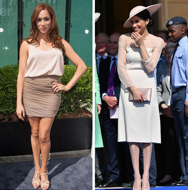 Bộ trang phục màu hồng nude của Meghan hồi tháng 5/2012 ở New York (trái) được nhận xét làm cho cô trông quyến rũ hơn bộ váy tại tiệc vườn Điện Buckingham mừng sinh nhật Thái tử Charles hồi tháng 5 vừa qua.