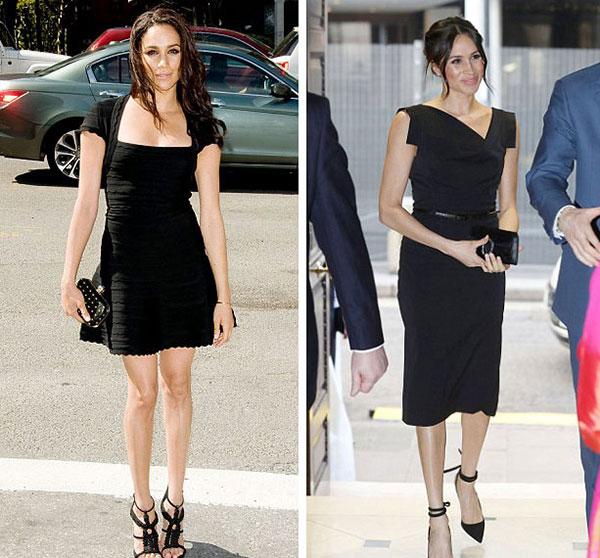Cùng diện váy màu đen nhưng Meghan để lộ nhiều phần cơ thể hơn khi còn độc thân ở New York hồi tháng 9/2013 (trái). 1 tháng trước khi kết hôn với Hoàng tử Harry, cô thay đổi phong cách, chọn váy của Jackie O.