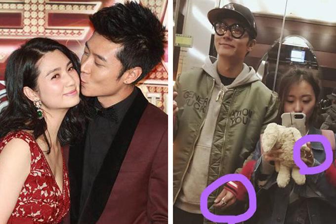 Vợ chồng Trương Đan Phong tình tứ (bên phải) trước khi dính tin đồn ngoại tình với quản lý Tất Oánh (bên trái).