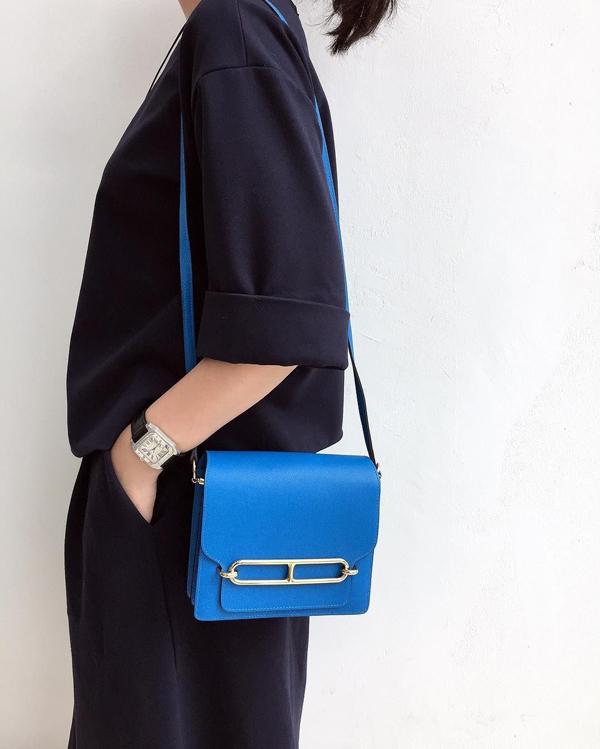 Phom túi hình hộp của Roulis với thiết kế nhiều ngăn tiện dụng.Dù không cầu kỳnhưng mẫu túi này lại gợi cảm giác vừa cổ điển lại vừa thanh lịch, hiện đại.