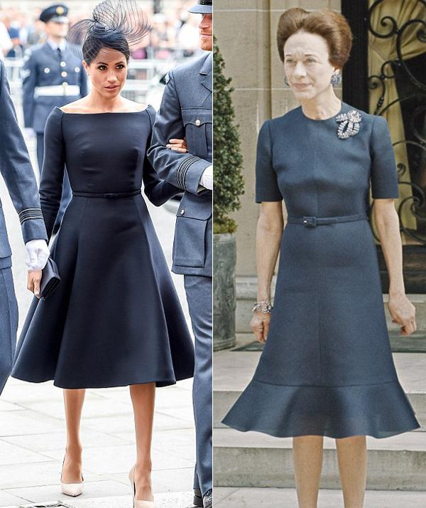 Vóc dáng và cả style thời trang của Meghan (trái) lẫn bà Wallis (phải) đều tương đồng nhau. Ảnh: UK Press.