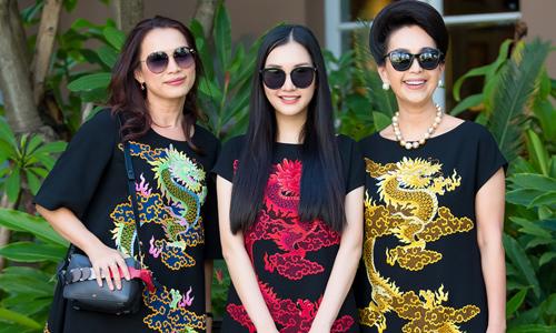Mỹ nhân 3 thế hệ đọ sắc khi diện váy họa tiết rồng