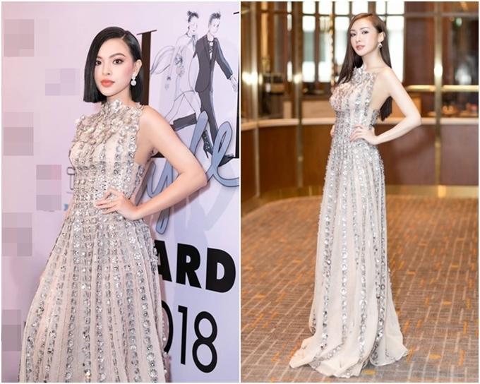 Tú Hảo (trái) và Kelly Nguyễn đều lộng lẫy trong thiết kế đính đá cầu kỳ. Tuy nhiên,máitóc bob cá tínhtrở thành điểm nhấn tôn ngoài hình của quán quân The Face 2017 trông thu hút hơn.