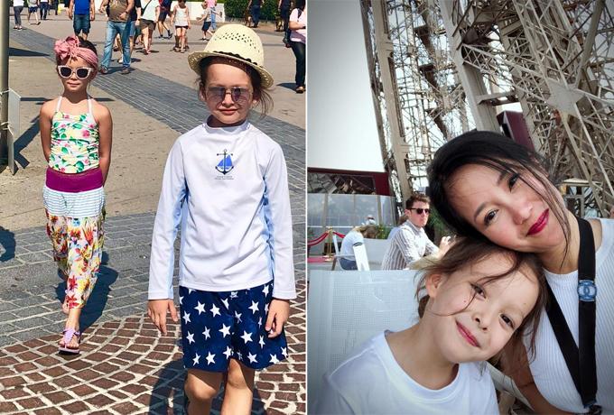 Cô Bống Hồng Nhung và hai bé Tôm - Tép vừa trở về từ chuyến nghỉ dưỡng dài ngày ở Pháp và Thụy Sĩ, đồng thời thăm một số người bạn thân và họ hàng. Hai con của Hồng Nhung thường xuyên di chuyển cùng mẹ khắp nơi rất luôn hào hứng với bất kỳ chuyến đi nào.