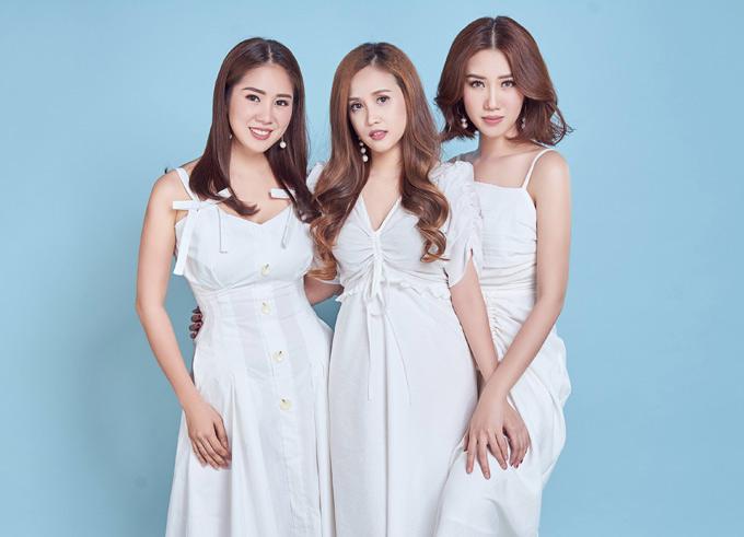 Từ trái qua: Lê Phương, Phương Hằng và Thúy Ngân đang được chú ý nhờ sắm vai ba chị em gái với tính cách, số phận khác hẳn nhau trongphim truyền hình ăn khách Gạo nếp gạo tẻ.