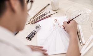 Nhà thiết kế kể chuyện phía sau chiếc váy cưới đính 20.000 viên pha lê của Tú Anh