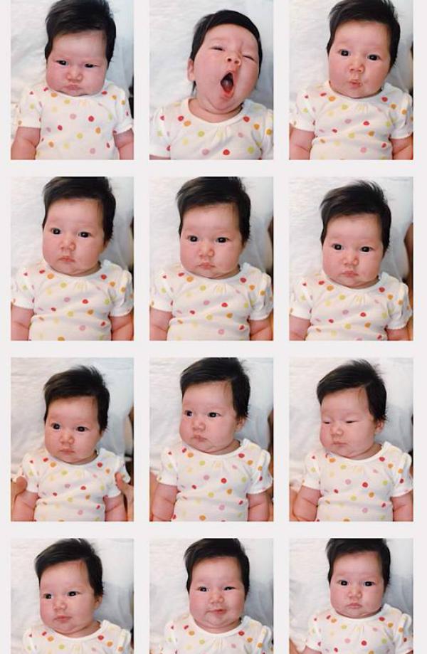 Những biểu cảm đáng yêu của con gái siêu mẫu Hà Anh khi bố mẹ chụp ảnh làm hộ chiếu.