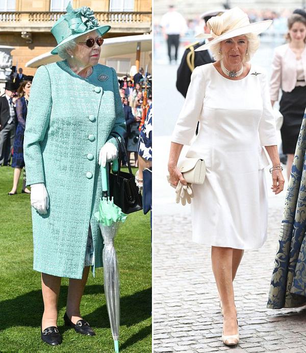 Nữ hoàng Anh (trái) thích style sặc sỡ, còn bà Camilla, vợ Thái tử Charles, nghiêng về phong cách đơn giản, thanh lịch. ẢNh: PA.