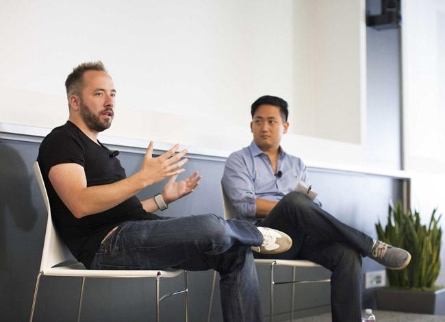 Tim Chen vàDrew Houston, CEO of Dropbox tại sự kiệnNerdTalks năm 2015. Ảnh:NerdWallet.