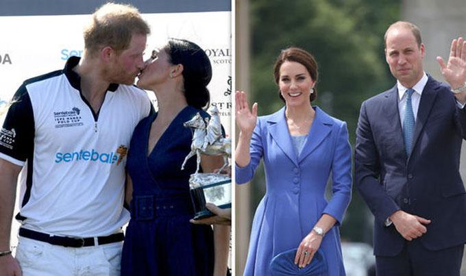Vợ chồng Harry- Meghan thoải mái thể hiện tình cảm trước công chúng, trong khi William-Kate thì nghiêm túc, chừng mực. Ảnh: Express.