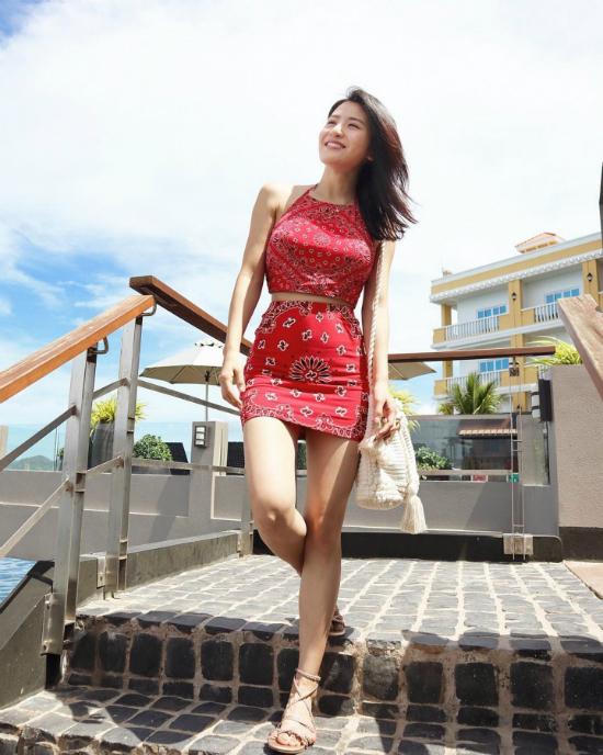 Lâm Thiên Dư khi mang thai 5 tháng.