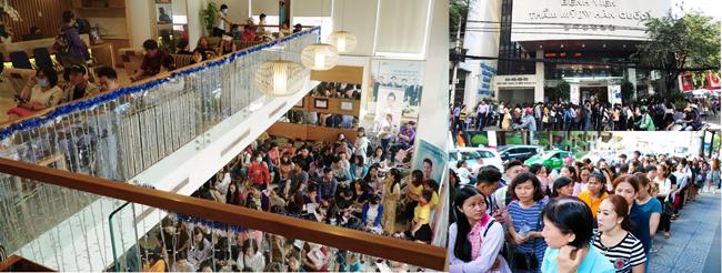 Hội thảo ra mắt viện trẻ hoá vàđiều trị da chuyên sâu của JWthu hút hàng trăm khách tham dự. Từ sáng sớm, nhiều người đã có mặt,xếp hàng chờ lấy số thứ tự để được tham dự. Phần lớn khách tham dự đều muốn trải nghiệm công nghệ mớiđể cải thiện làn da của bản thân.