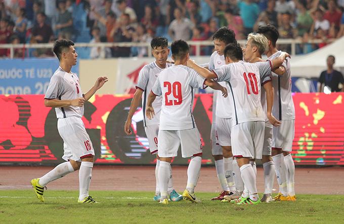 Olympic Việt Nam được thưởng 400 triệu đồng sau chiến thắng trước U23 Oman. Ảnh: Đương Phạm.