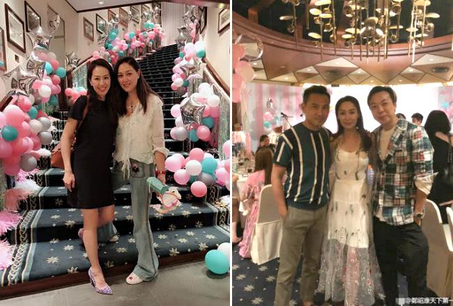 Bà xã của tài tử Nhậm Đạt Hoa (ảnh trái) góp mặt trong buổi tiệc.
