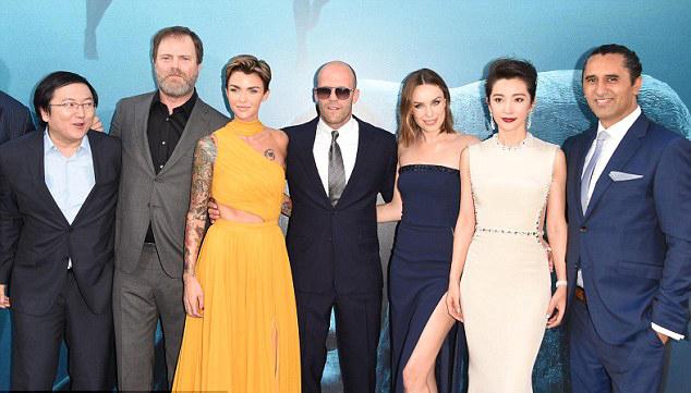 Đoàn làm phim The Meg (từ trái qua phải): Masi Oka, Rainn Wilson, Ruby Rose, Jason Statham, Jessica McNamee, Lí Băng Băng, Cliff Curtis.