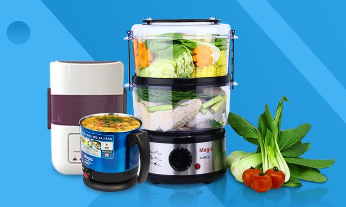Máy hấp thực phẩm, ca nấu siêu tốc, hộp hâm nóng cơmMagic Koreađồng giá 219.000 đồng. Sản phẩm từ Hàn Quốc được thiết kế nhỏ gọn, bền chắc và tiện lợi. Chất liệu inox không rỉ sét, thích hợp cho các bà nội trợ.