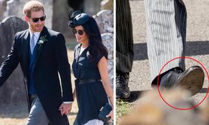 Hoàng tử Harry đi giày rách đế dự tiệc cưới