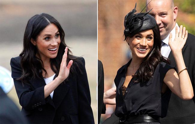 Meghan thường xuyên dùng cả hai tay để vẫy chào người hâm mộ. Ảnh: UK Press.