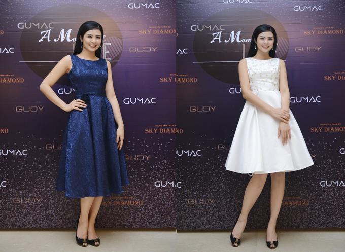 Hoa hậu Việt Nam 2010 Ngọc Hân cũng là một trong nhữngkhách hàng thân thiết của GUMAC. Người đẹp thường lựa chọn những dáng đầm xòe, màu sắc nhã nhặncủa thương hiệu.