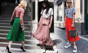 Phối đồ đa dạng cùng một kiểu chân váy