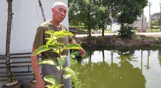 Ông Xu chỉ ra con sông cạnh nhà, nơi ông cứu cậu bé và bố cậu bé từ 30 năm trước. Ảnh: Shanghaiist.