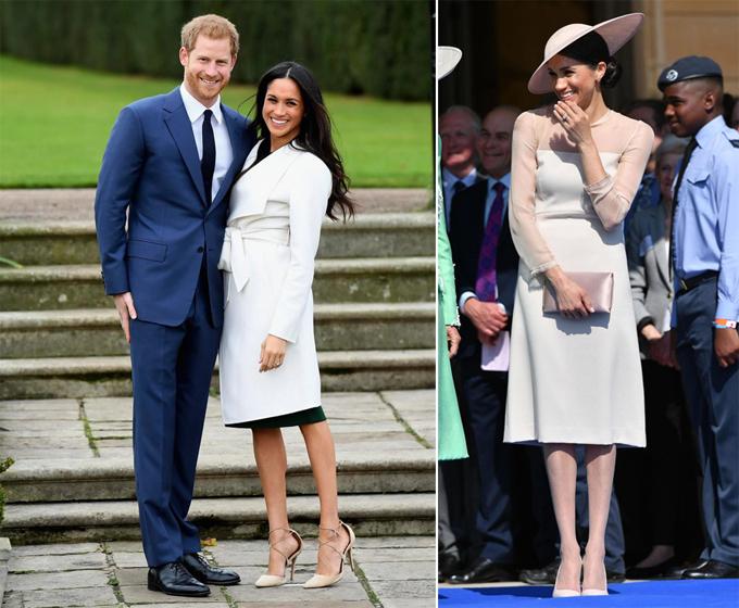 Thậm chí, tại buổi công bố đính hôn của mình, Meghan vẫn để chân trần (trái). Tuy nhiên, tại lần xuất hiện công khai đầu tiên sau đám cưới, vợ của Hoàng tử Harry đã đi tất chân (phải).