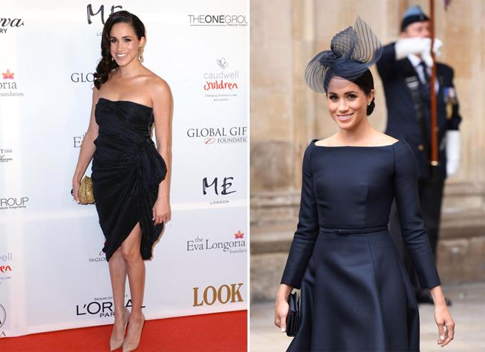 Meghan thoải mái diện váy hở vai tại sự kiện năm 2013 (trái). Cô chọn trang phục kín đáo hơn với cổ thuyền khi dự lễ kỷ niệm 100 năm lực lượng Không quân Hoàng gia hồi tháng 7 (phải).