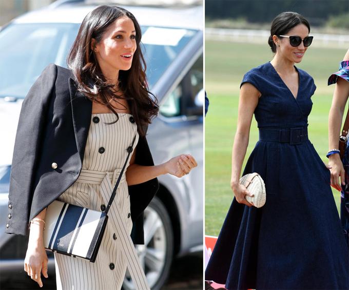 Một tháng trước đám cưới, Meghan đeo túi quai chéo (trái). Hiện cô đi đâu cũng sử dụng clutch (phải).