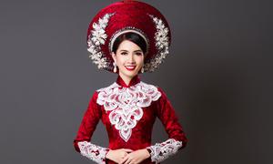 Hoa hậu Phan Thị Mơ gợi ý áo dài cưới rực rỡ cho nàng dâu mùa thu