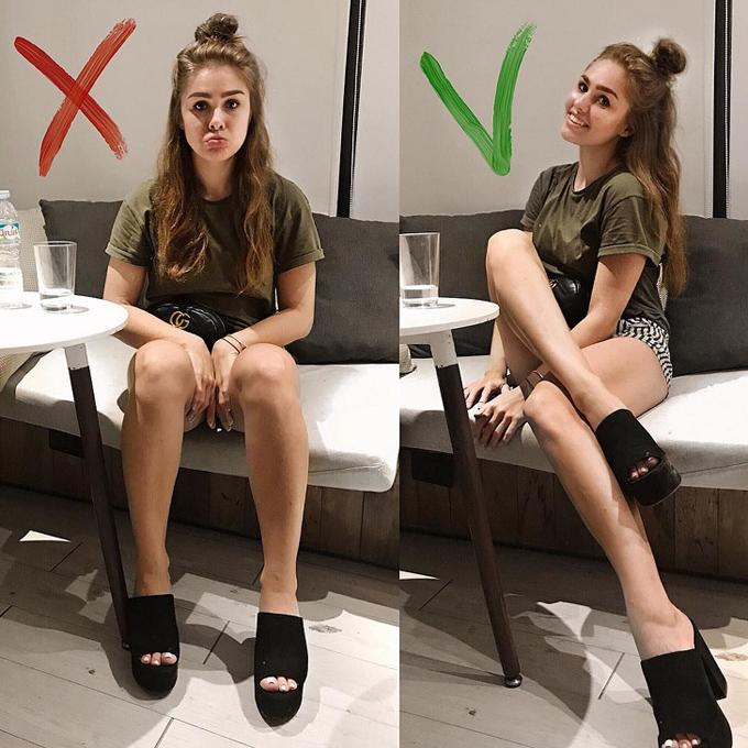 Chân dàiMỗi khi ngồi, thay vì thu chân lại, phái đẹp cần đưa một chân về phía trước, chân còn lại vắt chéo và hơi nhấc lên để phần bắp không bị bè ra.