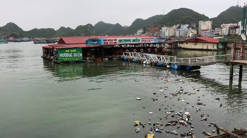 Rác thải các loạitrôi nổi trên vịnh Cát Bà, gây ô nhiễm môi trường. Ảnh: Giang Chinh
