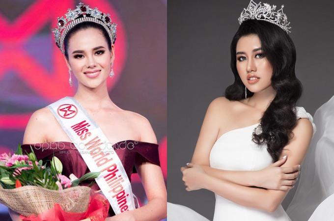 Hoa hậu Hoàn vũ Philippines 2018 Catriona Gray (trái) sắp sang Việt Nam theo lời mời của Emily Hồng Nhung.