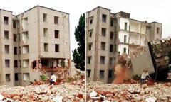 Suýt mất mạng khi ngồi xem tòa nhà bị đánh sập